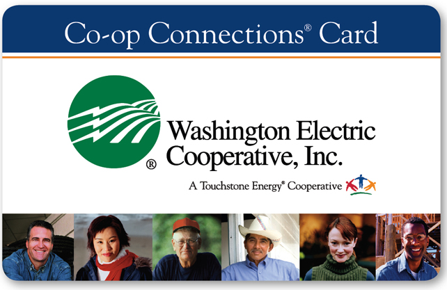 Picture of the Washington Electric Connections Card containing the company's green ball logo